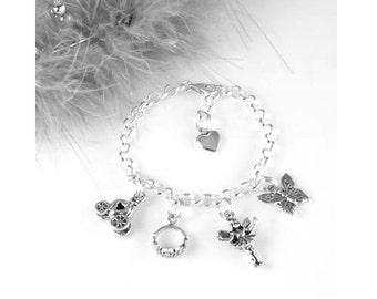 "Princess Charm Bracelet - Sterling Silver Adjustable Charm Bracelet with 5 Charms 6"", 6 1/2"", 7"", 7 1/2"" or 8"""