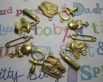 Baby Charms Baby Shower Supplies Brass Set/12 On Etsy