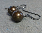 Chocolate Brown Pearl Earrings Minimalist Earrings Oxidized Sterling Silver Earrings