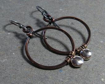 Copper Hoop Earrings Mixed Metal Earrings Sterling Silver Earrings Oxidized Earrings