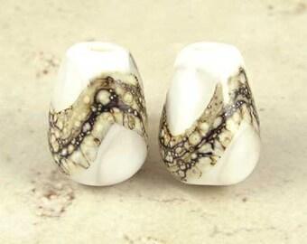 Teardrop Lampwork Glass Bead Pair with Organic Web Small White