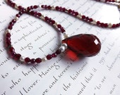 red garnet necklace - red crystal pendant, pearls and garnets - snow on roses necklace