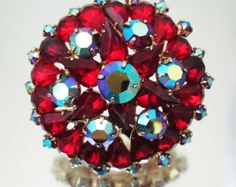 Large Red Rhinestone Blue Aurora Borealis Pin Brooch