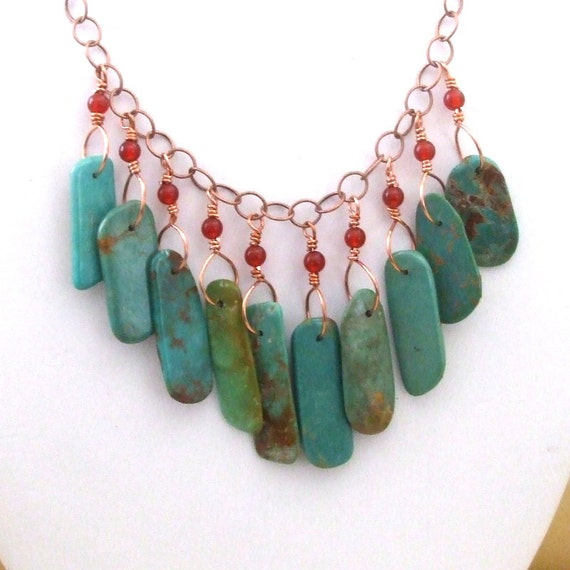 Rustic Turquoise Bib Statement Necklace Tribal Turquoise Necklace Bohemian  Jewelry