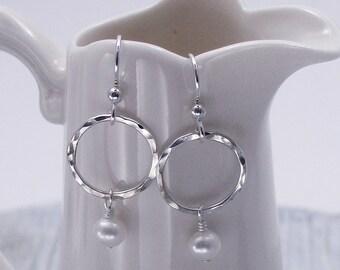 Pearl Sterling Silver Earrings, Drop Pearl