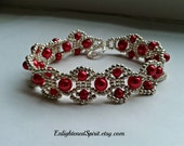 Red  and silver bracelet, glass pearls, cuff, Victorian, bridesmaids, baroque, renaissance, hand woven, hand beaded