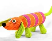 oscar - orange hot pink lime green striped crocheted dachshund plush dog softie