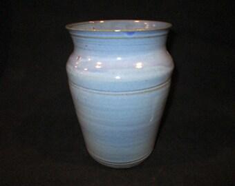 vase or utensil holder in light blue, stoneware pottery