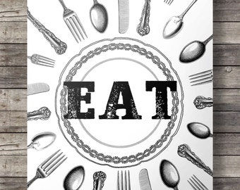 EAT  -  Printable kitchen wall art  - A3 / A4 size Instant download digital print