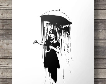 Banksy style 'Umbrella girl' - Printable wall art  INSTANT DOWNLOAD