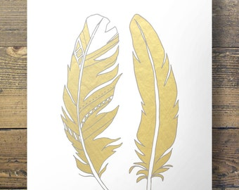Faux gold foil feathers  Printable wall art  INSTANT DOWNLOAD  A3/A4 size