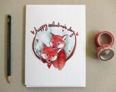 Valentines Day Card - Fox Valentine's Day Card - Happy Valentine's Day - Two Foxes - Blank Valentines Card - Happy Valentine's Day