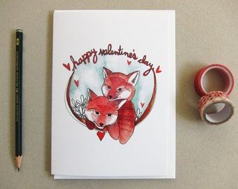 Valentines Day Card - Fox Valentine's Day Card - Happy Valentine's Day - Two Foxes - Blank Valentines Card - Happy Valentine's Day
