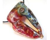 Pink & black Lampwork glass bead necklace, portal pendant with wing talisman, European charm focal bead, designer fiber art, cgge