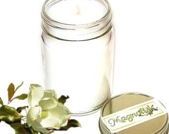 Magnolia Mason Jar Candle Floral Scent 12 Oz Handmade