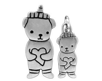Honey Bear Necklace Set - Mothers Day Gift - Set of 2 Sterling Silver Bear Pendants