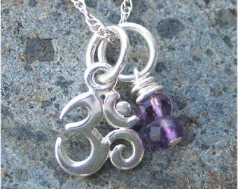 Om Amethyst Necklace - Yoga Jewelry