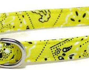 XS Dog Collar - Yellow Bandana - Extra Small, Teacup, Miniature - Fancy, Soft and Handmade