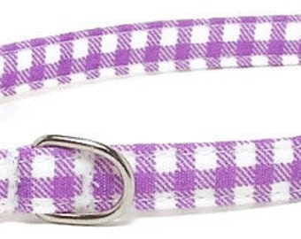 XS Dog Collar - Purple Gingham - Extra Small, Teacup, Miniature - Cute, Pretty and Fancy