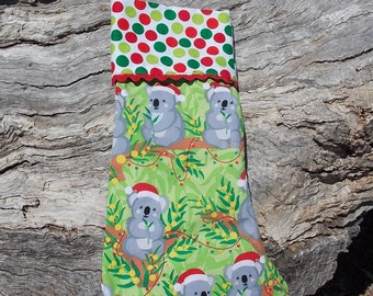 Australian Christmas stocking Aussie koalas with Santa hats