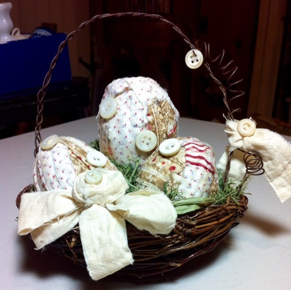 Easter egg arrangement baskets decorations easter wikii for your easter decor or a gift i have listed a nest basket with handcrafted quilt wrapped easter eggs negle Images