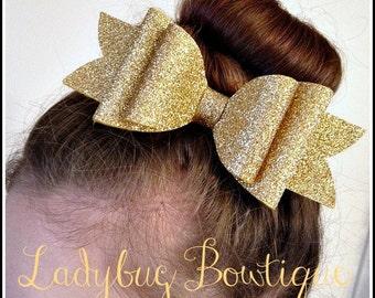 Wool Felt Glitter Hair Bow ~ Super Sparkle ~ Gold ~ Headband Clip or Barrette ~ Custom Choice ~ Christmas Holiday or New Year ~