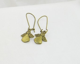 Bronze angel charm dangle earrings, Christmas earrings, Winter earrings, Stocking stuffers