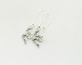 Antique silver snake charm dangle earrings, Reptile earrings, Zoo jewelry, Birthday present, Party, Teen, Gift for her, Whimsical jewelry