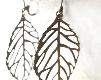 Antique Brass Filigree Leaf Leaves Earrings