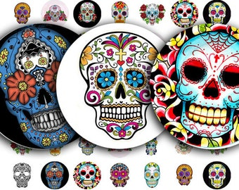 Day of the Dead collage sheet, or Dia de Los Muertos, Sugar Skull Tattoos in 16mm Circles, digital download no. 1000