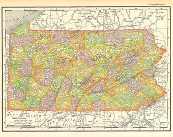 map of Pennsylvania, vintage printable digital download no. 767