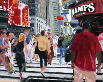 Original New York City Oil Painting Times Square Art Travel Painting  Gift 8x10