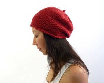 Made in France Beret Slouch Hat / Beanie. Red Merino. Urban Paris Style. Spring / Fall / Winter Fashion. Hand Knit in France.