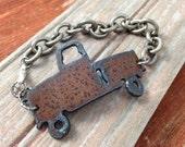 Rustic Metal Pickup Truck Bracelet   FREE SHIPPING