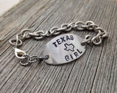 TEXAS Girl Bracelet  Handstamped State Outline Map   FREE SHIPPING