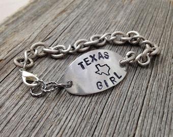 TEXAS Girl Bracelet  Handstamped State Outline Map