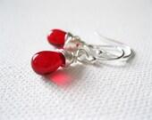 Red Teardrop Earrings. Small Red Sterling Silver Earrings. Wire Wrapped. Red Bead Earrings. Wedding Earrings. UK Seller