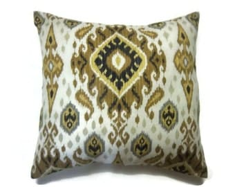 Decorative Pillow Pillow Cover Ikat Design Gold Yellow Black Natural  Gray Same Fabric Front/Back Toss Throw Accent 18 x 18 inch  x