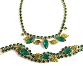 Vintage 50s Emerald Green Rhinestone Necklace and Bracelet