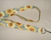 Sunflowers3 blue - handmade fabric lanyard