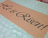 He is Risen! burlap table runner