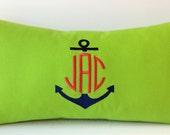 Anchor Monogram Pillow Cover. 12x22. Dorm Decor. Sorority Pillow. Nursery Decor. Childrens Personalized Pillow. Nautical Decor.Girls or Boys