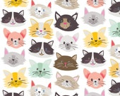 Cat Fancy White Fabric by Maude Asbury - Kitty Cats - The Best in Show Collection - Blend Fabrics - 1 -  One Yard Fabric