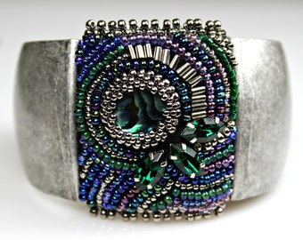 Beaded, Bead Embroidered Cuff - Paua Shell Abalone