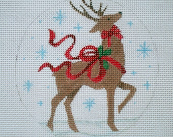 Handpainted New Reindeer and Ribbons Needlepoint Canvas