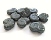 Smoke Grey Czech Glass Nautilus Shell Beads, 17mm x 14mm - 5 pieces