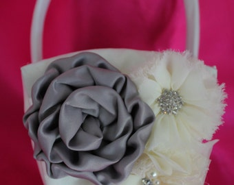 Cream or White Flower Girl Basket Rolled Satin Flower in Gray and Ruffled and Frayed Chiffon Flowers all with Rhinestones and Pearls