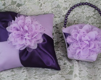 Lavender and Purple Flower Girl Basket and Pillow Set with Lavender Organza Layered Flower with Purple Polka Dots