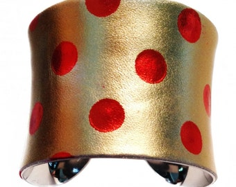 Red Spotted Gold Metallic Leather Cuff Bracelet - by UNEARTHED