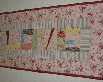 Handmade Mini Quilt Wall Hanging Table Topper LOVE Pink Brown Yellow Red Valentines Day